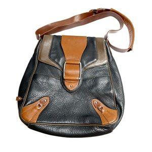 Cole Haan Black Tan Flip Top Shoulder Bag